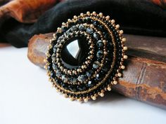 Black Beadwork Brooch Bead embroidery brooch Beaded brooch Black Onyx Brooch Black Beige Brooch Classical Brooch Black Jewelry
