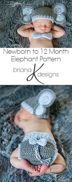 Baby Elephant Crochet Pattern by Briana K Designs. Sized newborn to 12 months.