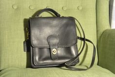 Vintage Coach Station Bag in Black by TheAdventurersLegacy on Etsy