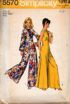 Simplicity 5570 Womens Evening Jumpsuits with Super Wide Legs 70s Vintage Sewing Pattern Size 10 Bust 32 1/2 inches