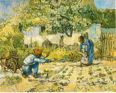 Art of the Day: Van Gogh, First Steps (after Millet), January Oil on canvas, x cm. The Metropolitan Museum of Art, New York via Van Gogh: The Life FB Art Van, Van Gogh Art, Van Gogh Pinturas, Vincent Van Gogh, Oil On Canvas, Canvas Art, Canvas Size, Van Gogh Paintings, Happy Paintings