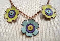 copper enamel necklace handmade three flowers by MyArtisticOutlet, $30.00