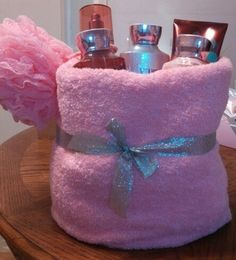 Baby shower prize. Bath & Body Velvet Sugar in a towel basket.