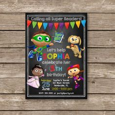 Super Why Invitation Super Why Birthday  The Super by PartyGiraffe