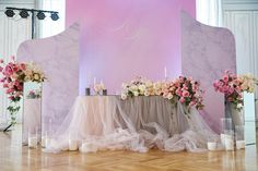 Mixed Two-Tone Chiffon-Tulle Table Skirt, Mixed Two-Tone Chiffon-Tutu Tablecloth Wedding Reception Centerpieces, Decoration Table, Wedding Reception Decorations, Modern Centerpieces, Wedding Ideas, Wedding Planning, Wedding Inspiration, Long Tutu, Tulle Table Skirt