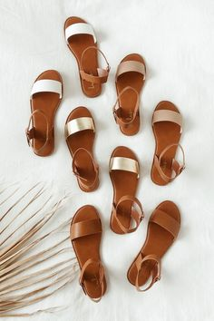 Get back to basics in the Insta-worthy Lulus Hearts and Hashtags Gold Flat Sandals! You can wear these vegan leather sandals anywhere, with their simple metallic gold toe band and gold-buckled, tan ankle strap. Gold Flat Sandals, Trendy Sandals, Shoes Flats Sandals, Cute Sandals, Cute Shoes, Leather Sandals, Women's Shoes, Sandal Heels, Shoes Sneakers