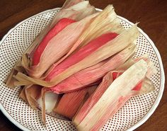 Makes: 8 small sweet tamales Ingredients: Maseca (or any tamale flour, 250g), baking powder (1 tsp), salt (1/2 tsp), water (500mL) (vegetable shortening (150g), sugar (6 tablespoons), red or pink ...