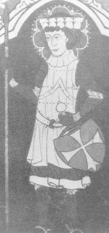 diese Holzmalerei aus Lögum, Dänemark, datiert um 1300, zeigt einen mann mit Plattenrock, auch hier vertikal angeordnete Platten.