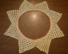 Vintage Crochet Lace Doily/Collar Pink Trim by AmyFindsEverything