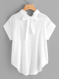 Bow Tie Back Curved Hem Blouse
