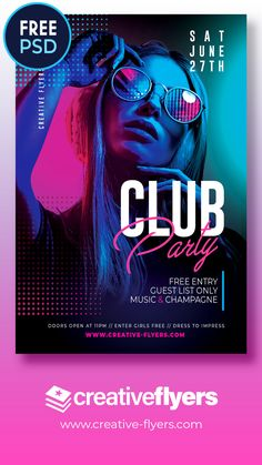 Free Night Club Flyer Template For Photoshop - Creative Flyers Creative Poster Design, Graphic Design Layouts, Creative Posters, Graphic Design Posters, Poster Designs, Brochure Design, Club Poster, Party Poster, Gig Poster