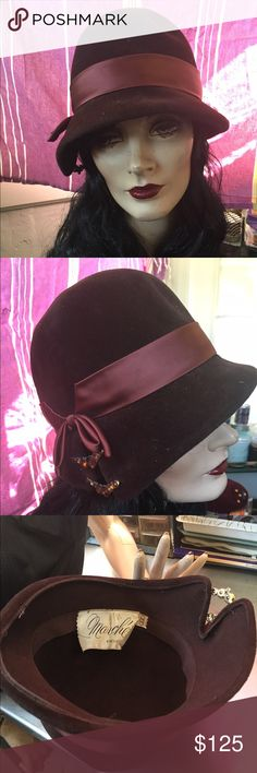 Beautiful Chocolate Brown Mod 60s cloche hat This hat is in amazing condition, I've stored it for years and am finally ready to send it to a good home. Excellent 1960s does 1920s style, can fit a mod outfit or flapper style equally well. Nice medium to large vintage size and has original designer label inside. Beautiful Amber accent. Would look amazing with a monochromatic brown outfit! Accessories Hats