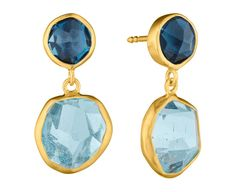 Symmetry: 18Kt Gold Earrings with London Blue Topaz and Aquamarine