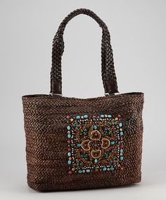72446d15070 Sepia Bead Cornhusk Tote by Boardwalk Style Pretty Patterns