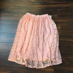 """Pink lace skirt Elastic waistband. Lace on top and pink lining. Length 26"""". Misia  Skirts"""