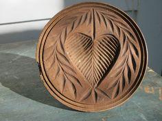Exceptional Antique Folk Art Wooden Large Heart Butter Stamp Print