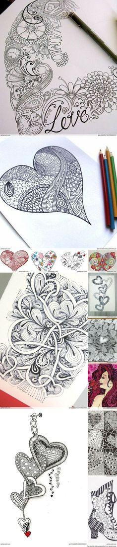 Zentangle Valentines Day Ideas Beautiful! Složité Kreslené Vzory, Zen Doodle, Doodly, Co Nakreslit, Bezplatné Omalovánky, Skeče, Mandaly, Skicáky, Malba Pastelkami
