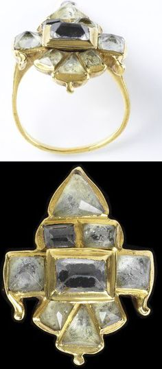 Gold ring set with rock crystal over mirrored glass. Probably Spain, about 1575-1650.