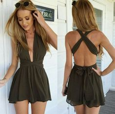 2015 Summer New Arrival Arm green Women Deep V Halter Ribbon Cross Jumpsuit Woman Short Romper Playsuit Free Shipping - http://www.aliexpress.com/item/2015-Summer-New-Arrival-Arm-green-Women-Deep-V-Halter-Ribbon-Cross-Jumpsuit-Woman-Short-Romper-Playsuit-Free-Shipping/32302366419.html