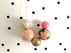 Pink & Gold // Hand Painted Wooden Bead Necklace by shoplulapearl