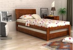 Buy Fyodor Trundle Bed online India in Teak Finish. The pull out trundle bed is very interesting concept as it provides you additional bedding option. Trundle beds are best suited for kids. Shop trundle bed online for your home Wooden Trundle Bed, Trundle Beds, Wooden Beds, Space Saving Bedroom, Beds For Small Rooms, Wood Bed Design, Wooden Street, Beds Online, Kid Beds