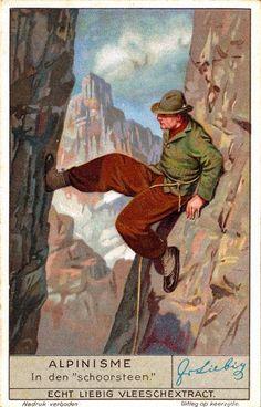 Vintage Winter Vintage Alpine Climbing Poster - Stemming