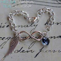 Rannekoru infinity linkillä, enkelinsiivellä ja sinisellä Swarovskin kristallisydämellä <3