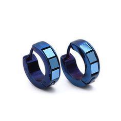 Blue Stainless Steel Stud Hoop Mens Earrings