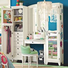 teen makeup vanity | Pottery Barn Teen Hampton Lilac Vanity Desk, Hutch & Tower Set Bedroom ...