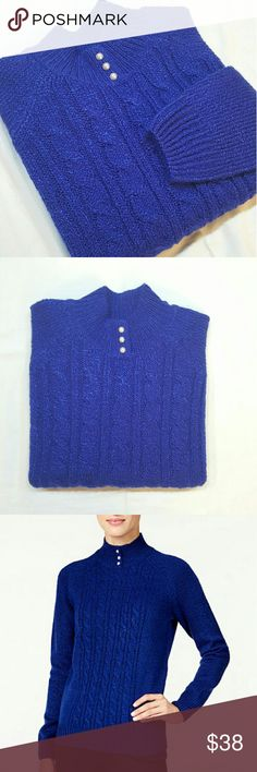 Royal blue pearl buttons sweater Mock neck with pear embellishment buttons, pull over style long sleeves. Marked knit with cable detail at front, hits the hop. Brand new with tags. Karen Scott Sweaters Cowl & Turtlenecks
