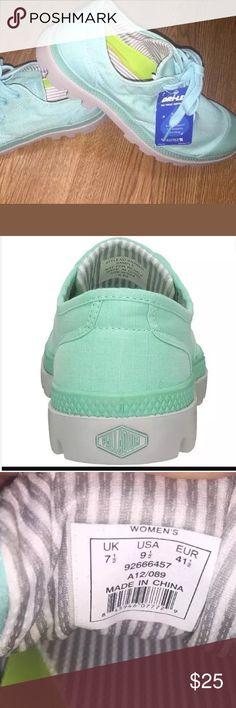 New Palladium Oxford Pampa Lite 9.5 shoes Boot Brand new Palladium Oxford pampa lite in pool blue vapor. Dri-lex technology with sweat control fiber. Tagged a US women's 9 1/2 (UK 7 1/2). Palladium Shoes Sneakers