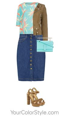"""How To Wear Bright Light Summer Blue With Cool Brown"" by jen-thoden ❤ liked on Polyvore featuring Current/Elliott, Yves Saint Laurent, Schutz and Marcel Seraphine"