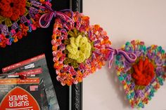 Rainbow Rose Heart Garland | by sarah london textiles