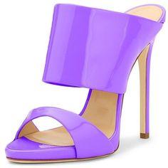 FSJ Vintage Open Toe Mules Shoes Stilettos Fresh Feminine Timeless Two... (940 MXN) ❤ liked on Polyvore featuring shoes, sandals, wide heel sandals, wide sandals, stiletto heel sandals, mule sandals and high heel stilettos