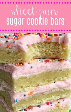 Cookie sheet Sugar Cookie Bars: Soft, thick sugar cookie bars topped with a creamy and sweet frosting and baked in a sheet pan. Perfect for a large crowd, potluck, picnic, or a party. Change up the frosting color & sprinkles for Party Desserts, Cookie Desserts, Just Desserts, Cookie Recipes, Delicious Desserts, Desserts For A Crowd, Desserts For Picnics, Picnic Dessert Recipes, Easy Potluck Desserts