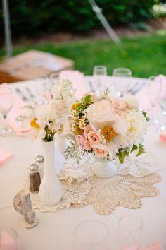 Centerpiece + Crocheting (Florist: Violet and Verde) - Long Island Vintage Garden Party Backyard Wedding from Minnow Park