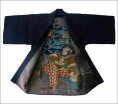 hanten hikeshi-banten: fireman's jacket | thick padded layers of highly absorbent cotton |  pictorial layer made of sakiori weaving, decorated with tsutsugaki-made heroic historical/mythical characters; blue layer has sashiko stitching | Tokyo, Japan | c. late 1800s–early 1900s