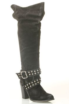 Studded Knee High Motorcycle Boot
