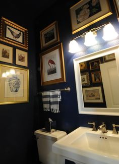 Dueling rooms {powder room} - a lot like ours, minus all the ethnic stuff ours has. Powder Room Decor, Bathroom Pictures, Bathroom Picture Frames, Bathroom Curtains, Bathroom Shower Tile, Gold Bathroom, Bathroom Design Small, Blue Powder Rooms, Bathroom Inspiration