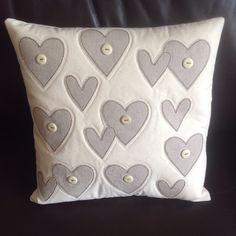 All hearts cushion 12x12 linen on calico with buttons.