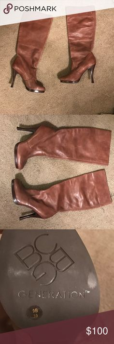 "Brown Leather BCBG Generation Heeled Boots ""Acorn"" Leather BCBG Generation Heeled Knee High Boots. Can be scrunched down for a shorter look. Never worn! 9 B, 39. BCBGeneration Shoes Heeled Boots"
