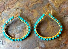 Gold filled tear drop hoop earrings with by VivianRDesigns on Etsy, $44.00