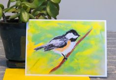 Blank Note Greeting Card - Chickadee - For Anyone - Stationary Card - Bird - Nature Lovers - Birders - Birding - Blank Inside - Pastel Art by CreateThriveGrow on Etsy
