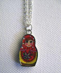 Russian Babushka Doll Pendant Necklace  Red by artspiritdesigns, $10.00