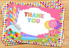 Candy Birthday Party Thank You Card 4x6 by eventfulcards on Etsy, $9.99