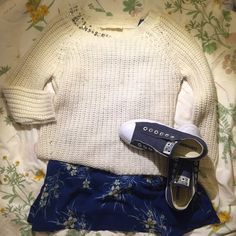 Zara sweater 3/4 sleeves and embellished collar Ivory knit sweater with embellished collar. Put it on with a swing dress. It could be your go-to Spring outfit!!! Zara Sweaters Crew & Scoop Necks