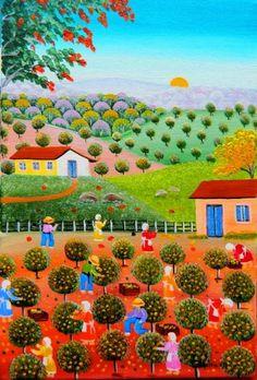 VALQUIRIA BARROS TEMA COLHEITA DE LARANJÁ A VENDA COM AJUR SP - Painting, 30x20 cm ©2012 por Arte Naif - Pintura, Oleo