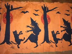 """Antique Vintage Crepe Paper Boarder 117"""" x20 Black Cat Witches Owl Moon 1930s   eBay"""