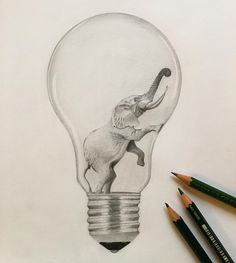 #elephant#lightbulb#glühbirne#idea#zeichnung#bleistift#drawing#creative#blackandwhite#bw#love#artist#art#artlovers#arts_help#artwork#artistic_nation#artsgallery#artsssupport by @vivaladaen on Instagram.