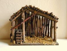 Could diy one of these. Wood and Moss Manger for Christmas Nativity Scene - ShabbyNChic Christmas Crib Ideas, Christmas Wood, Christmas Projects, Winter Christmas, Vintage Christmas, Christmas Decorations, Christmas Ornaments, Tree Decorations, Christmas Signs